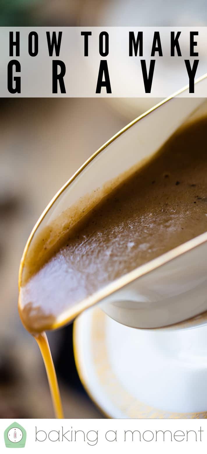 """Pouring gravy from a gravy boat, with a text overlay that reads """"How to Make Gravy."""""""