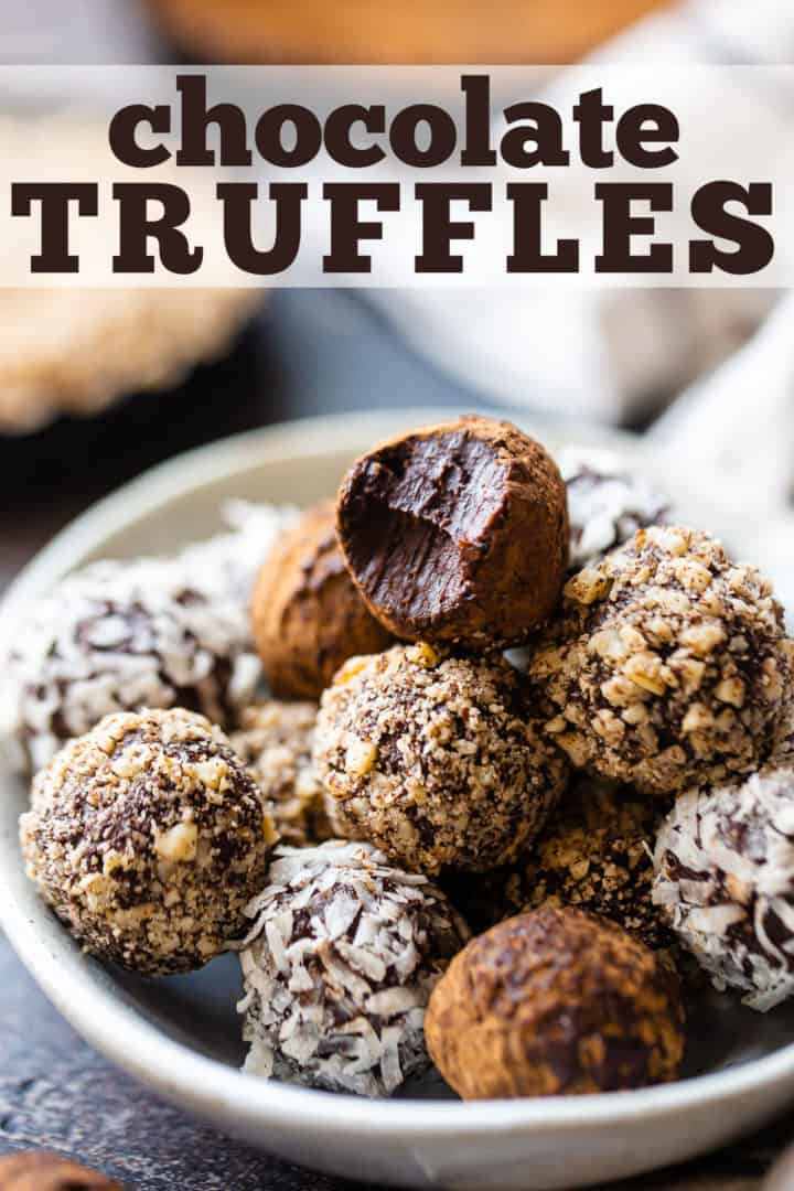 "Chocolate truffle recipe, prepared and presented in a bowl with a text overlay that reads ""Chocolate Truffle Recipe."""