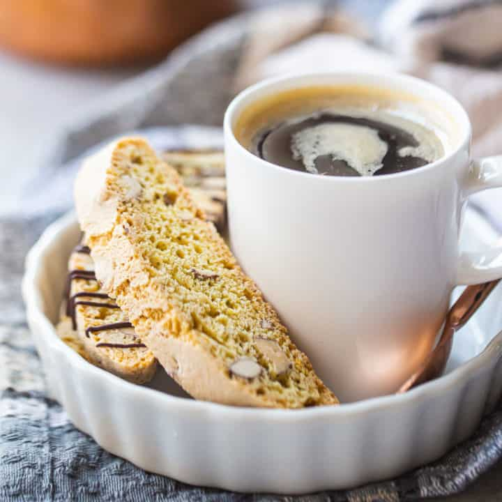 Biscotti cookies served with a cup of espresso.