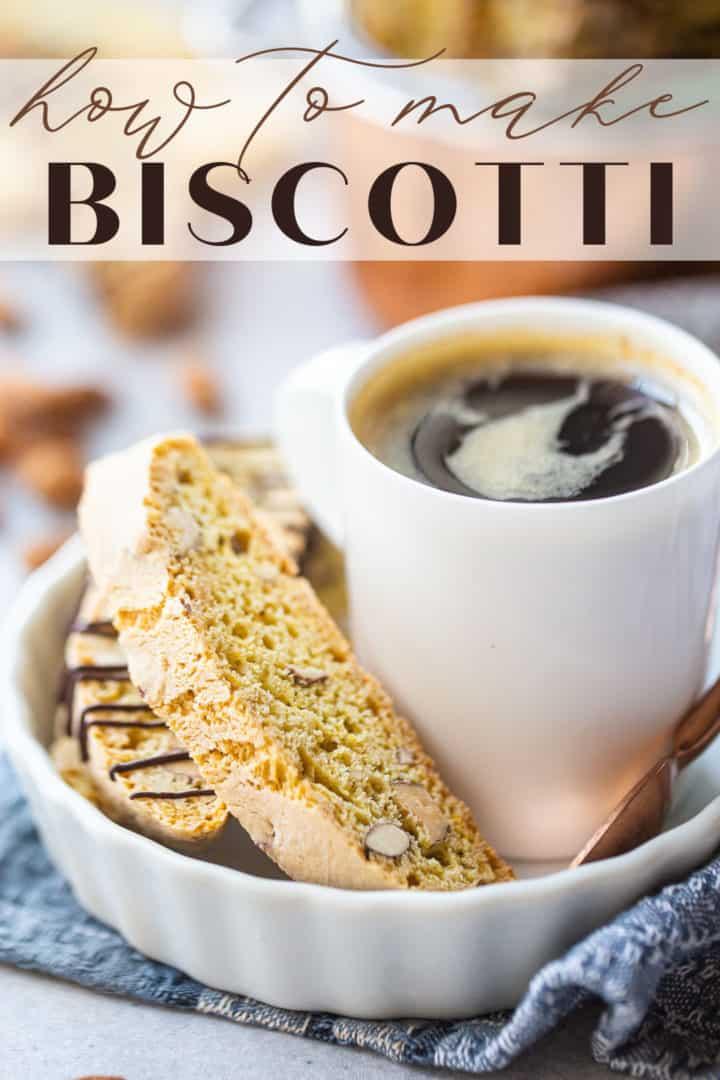 Biscotti recipe, prepared and presented with coffee in a small white dish.