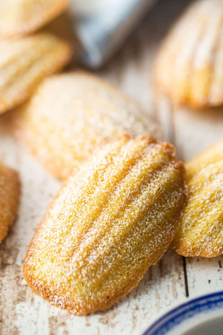 Best madeleine recipe made in the classic shell shape and garnished with powdered sugar.