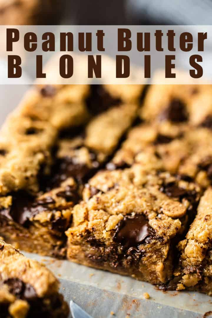 """Peanut butter blondie recipe, baked and cut into squares, with a text overlay that reads """"Peanut Butter Blondies."""""""
