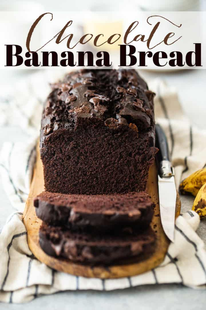 """Chocolate banana bread recipe with chocolate chips, served on a striped cloth with a text overlay above that reads """"Chocolate Banana Bread."""""""