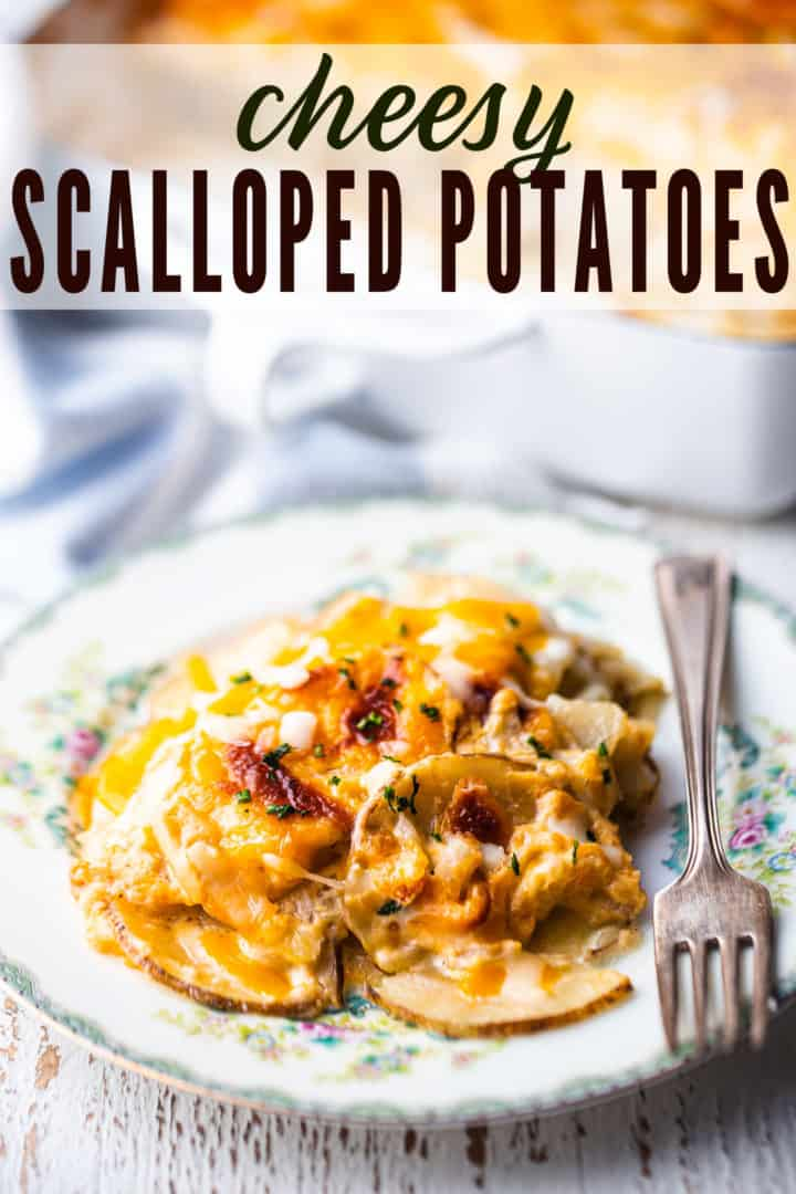 "Potatoes au gratin served on a vintage floral plate with a silver fork and a text overlay that reads ""Cheesy Scalloped Potatoes."""
